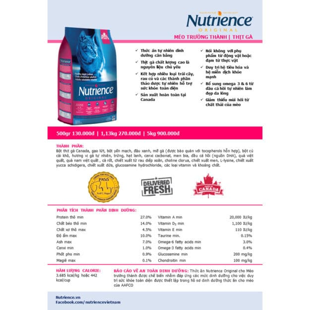 thong tin thanh phan dinh duong cua nutrience meo truong thanh